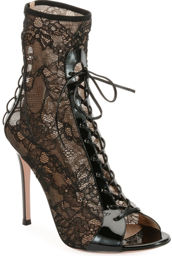 Gianvito Rossi Floral-Lace Peep-Toe Booties