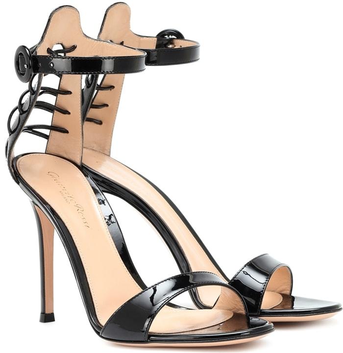 Black Gianvito Rossi Corset Patent Leather Sandals