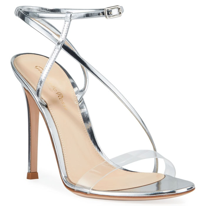 Gianvito Rossi metallic clear-strap sandals