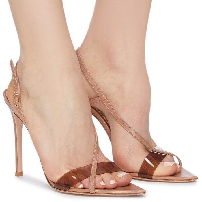 Gianvito Rossi Diagonal-Strap PVC-Band Slingback Sandals