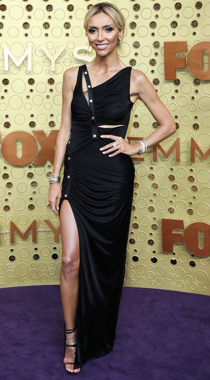 Giuliana Rancic's asymmetric ruched long dress from Versace