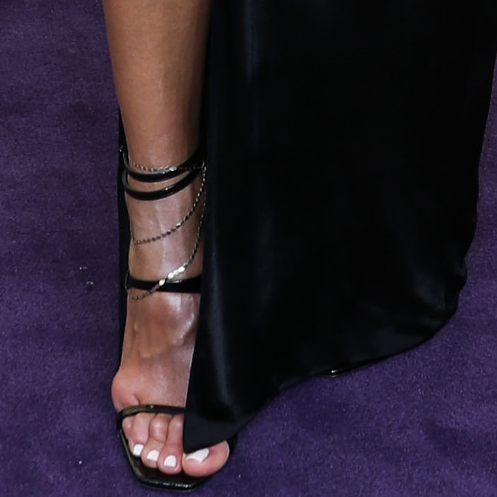 Giuliana Rancic's hot feet in black Amber Edie patent sandals from Saint Laurent