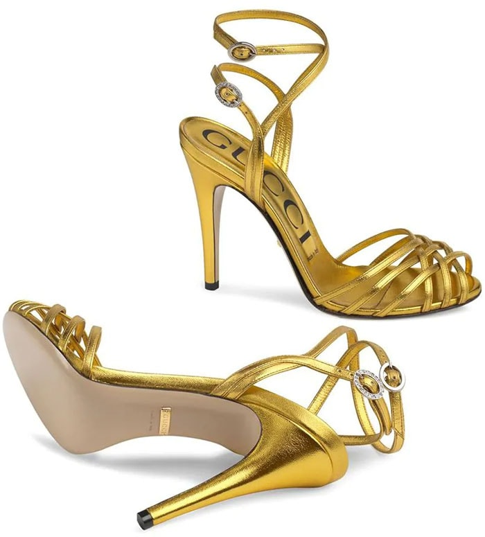 Gucci Crisscross-Strap Sandals in Gold Metallic