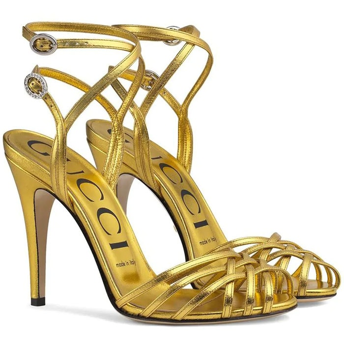 Gucci Gold Crisscross-Strap Sandals