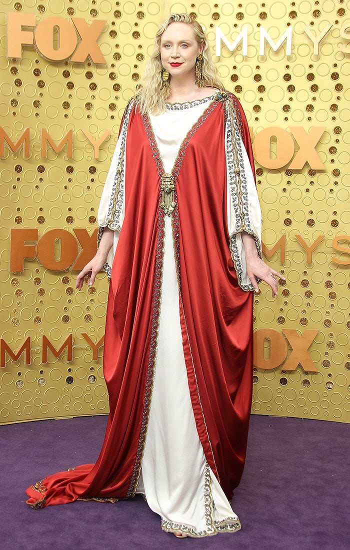 Gwendoline Christie in a Gucci Jesus dress at the 2019 Emmy Awards