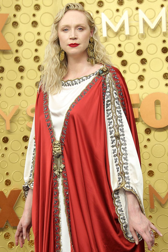 Gwendoline Christie's custom Jesus dress by Alessandro Michele