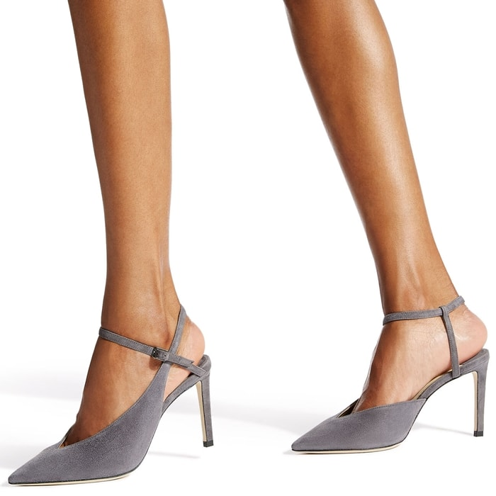 Jimmy Choo's grey Sakeya pumps are an elegant addition to your trans-seasonal ensembles