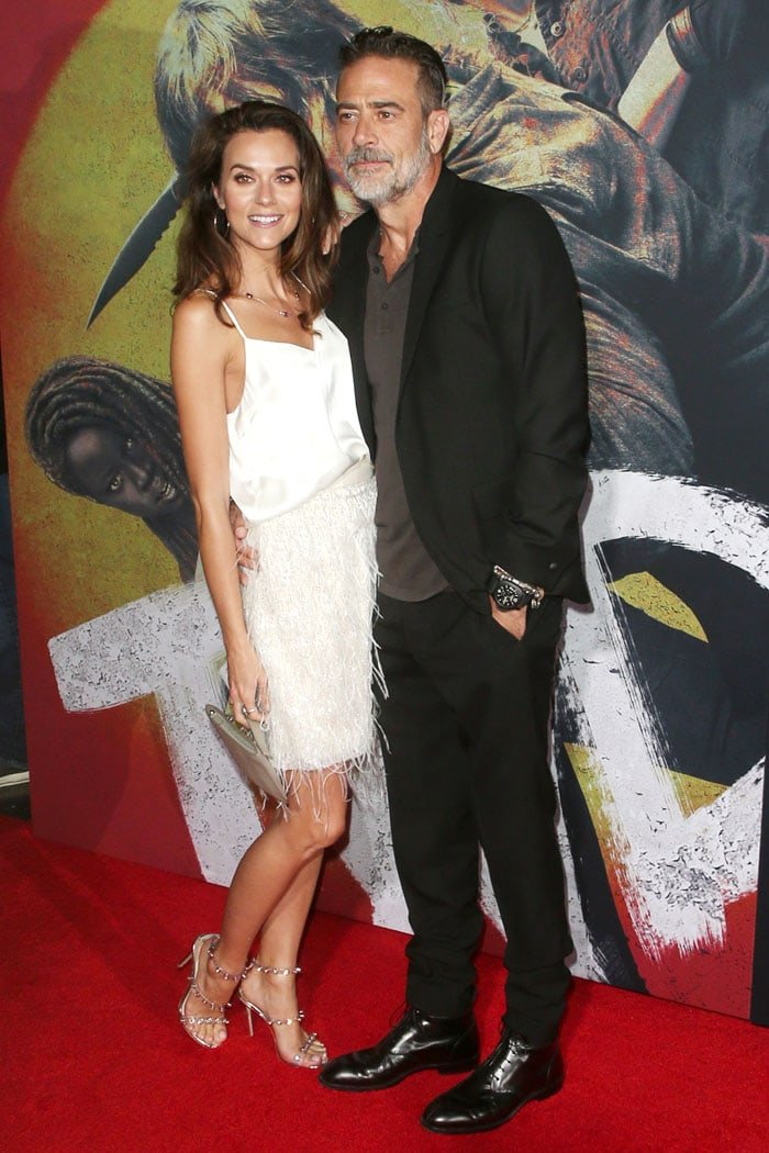 Hilarie Burton supporting husband Jeffrey Dean Morgan at The Walking Dead Premiere and Party