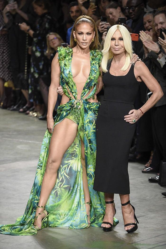 Jennifer Lopez, Donatella Versace and the iconic green Versace dress