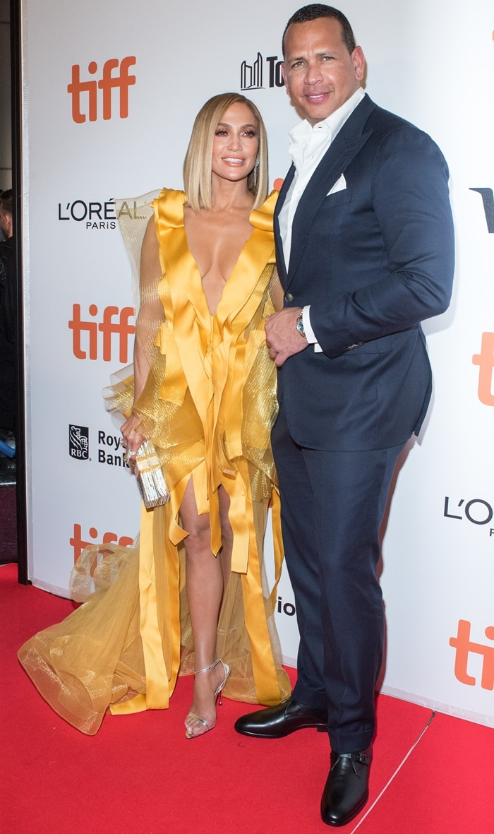 Jennifer Lopez and Alex Rodriguez on the red carpet at the Hustlers premiere