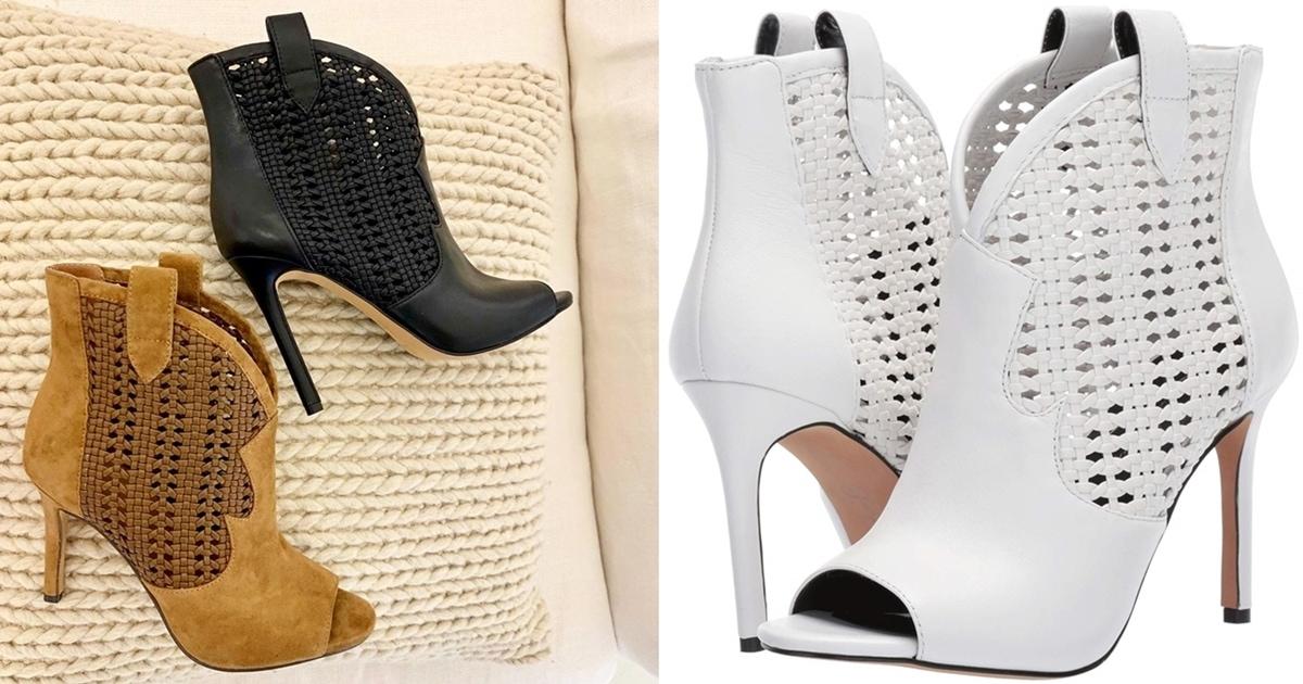 Jexell Peep Toe Western Booties In Black Brown And White