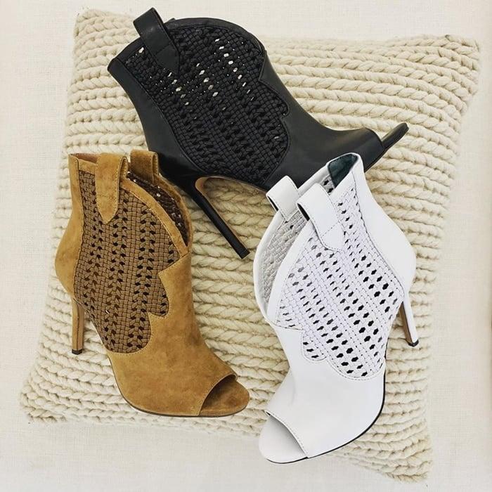 Jexell Peep Toe Western Booties in Black, Brown and White
