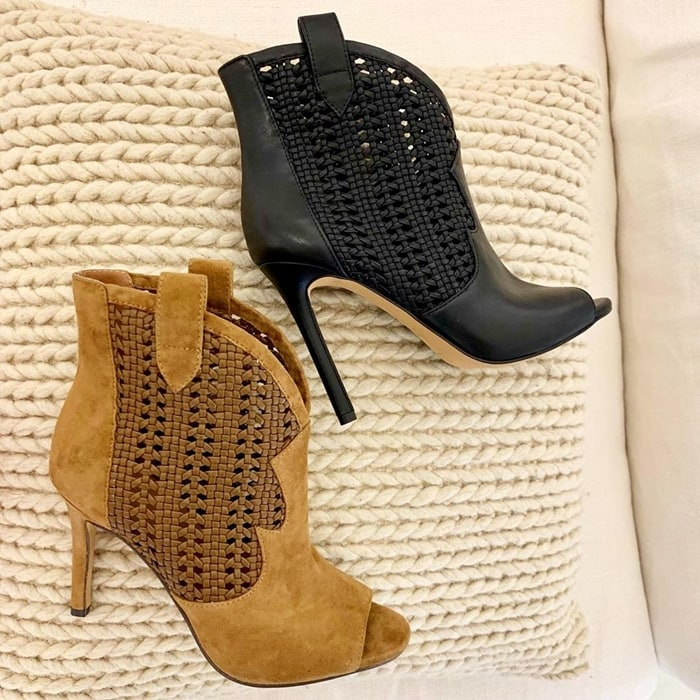 Take your style to the next level with these Jexell booties with woven cutout detail at sides
