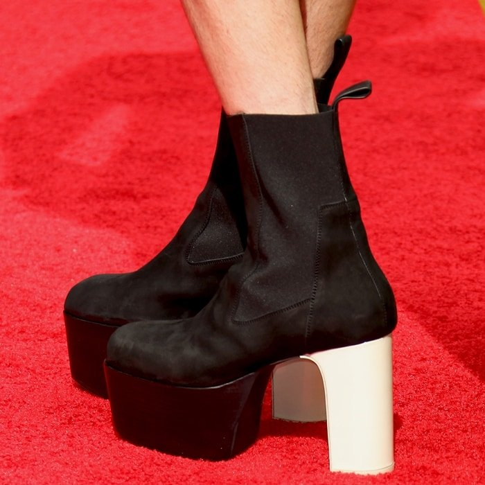 Jonathan Van Ness styled his dress with towering black and white platform heels