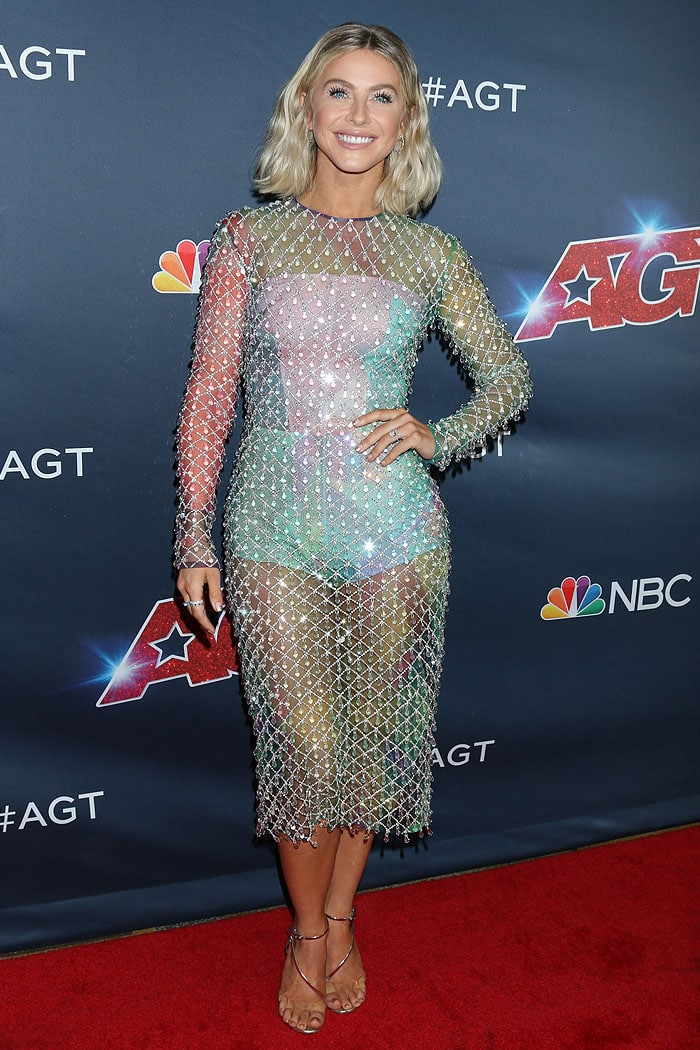 Julianne Hough in a Rami Kadi crystal-net dress and Gianvito Rossi sandals