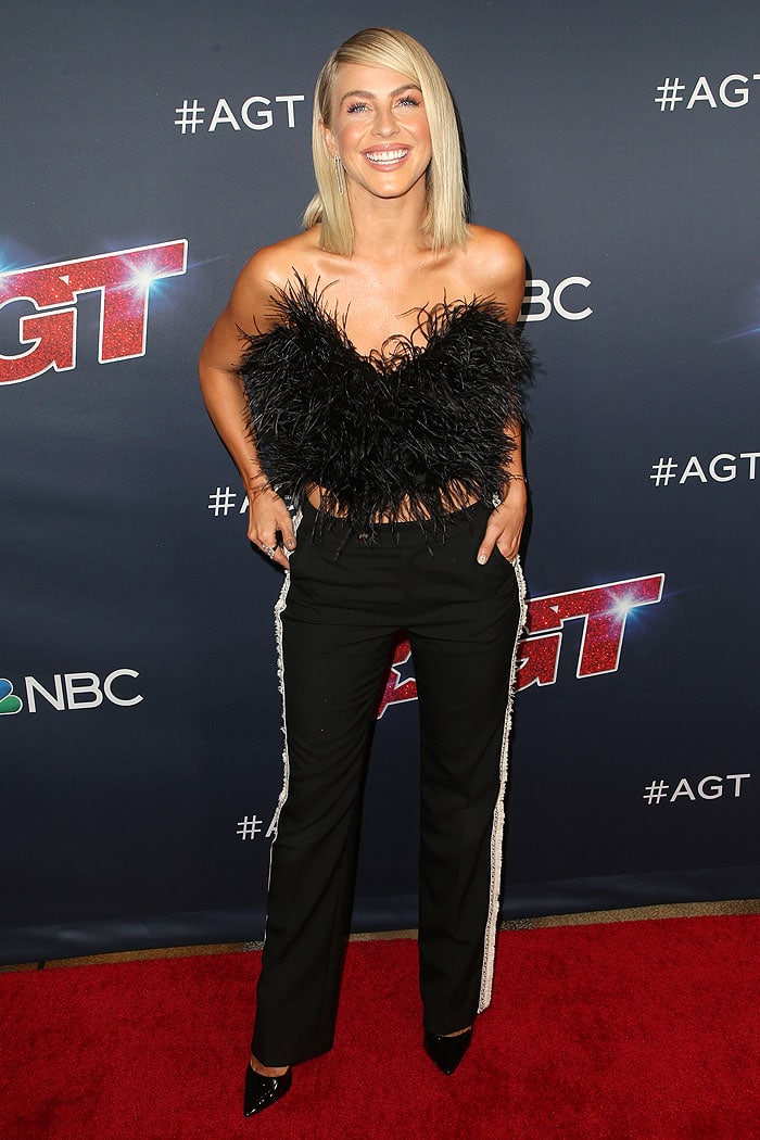 Julianne Hough in a feathery black tube top