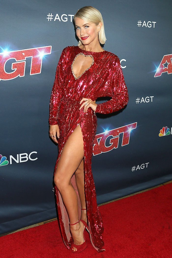 Julianne Hough in a red sequined heart cleavage gown