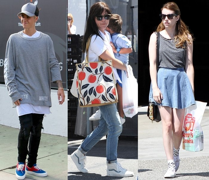 Justin Bieber, Selma Blair, and Emma Roberts wear Vans shoes