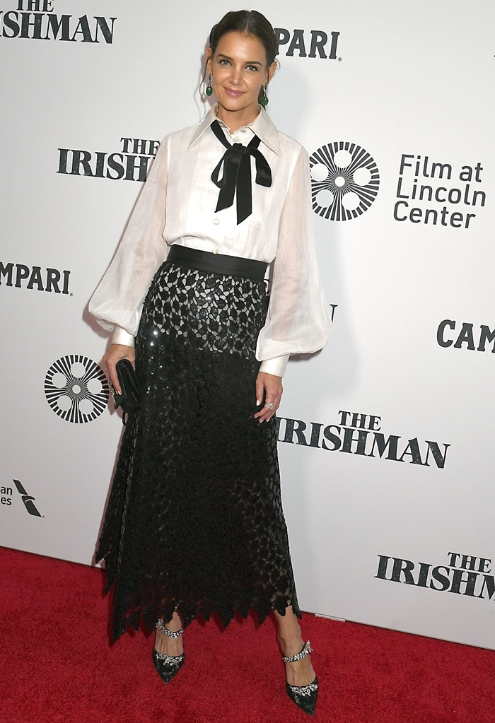 Katie Holmes' sequined black midi skirt is crafted from leaf-shaped guipure lace that sits at the waist and falls to an elegant A-line silhouette over tonal mesh lining