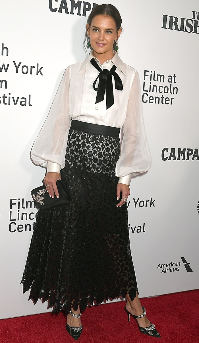 Katie Holmes stepped out to enjoy the opening night of the 2019 New York Film Festival and a screening of The Irishman at Alice Tully Hall, Lincoln Center in New York City on September 27, 2019