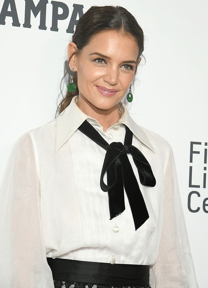 Katie Holmes wearing a blouse made from sheer cotton gauze with a smart satin point collar, pintuck pleats down the front and striking black velvet pussy-bow neck ties