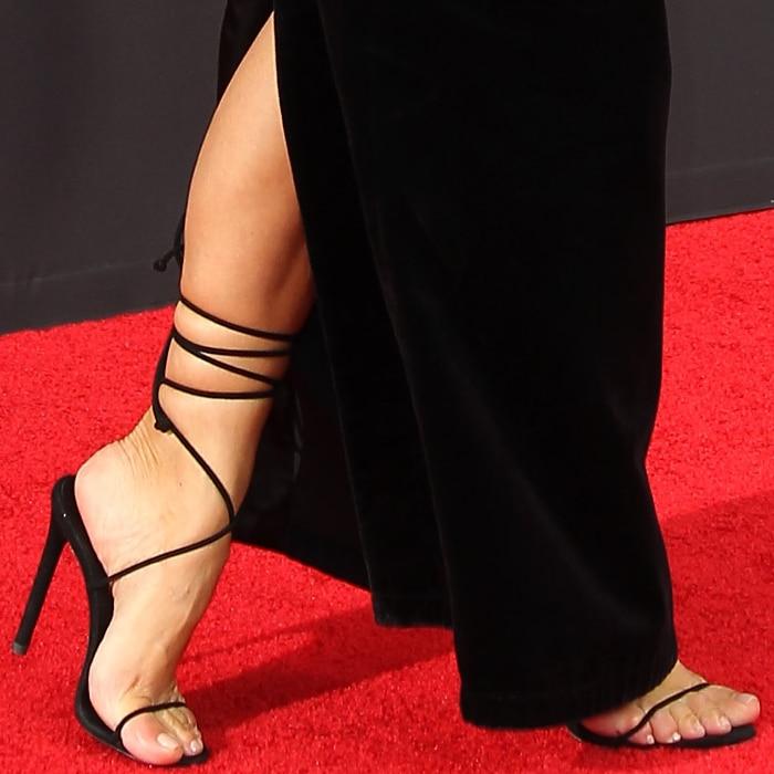 Kim Kardashian's hot feet in black strappy heels