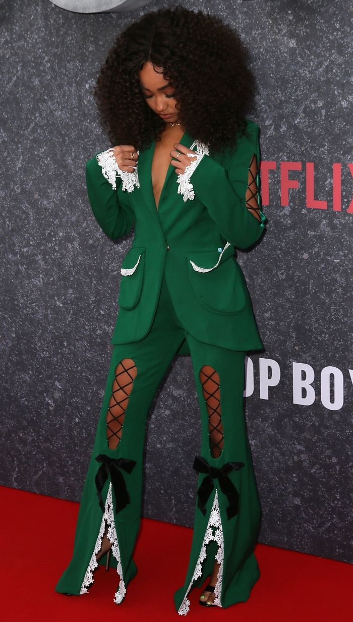 Leigh-Anne Pinnock wore Gianvito Rossi leather sandals with corset-laced backstay on the red carpet at the UK series three premiere of Top Boy