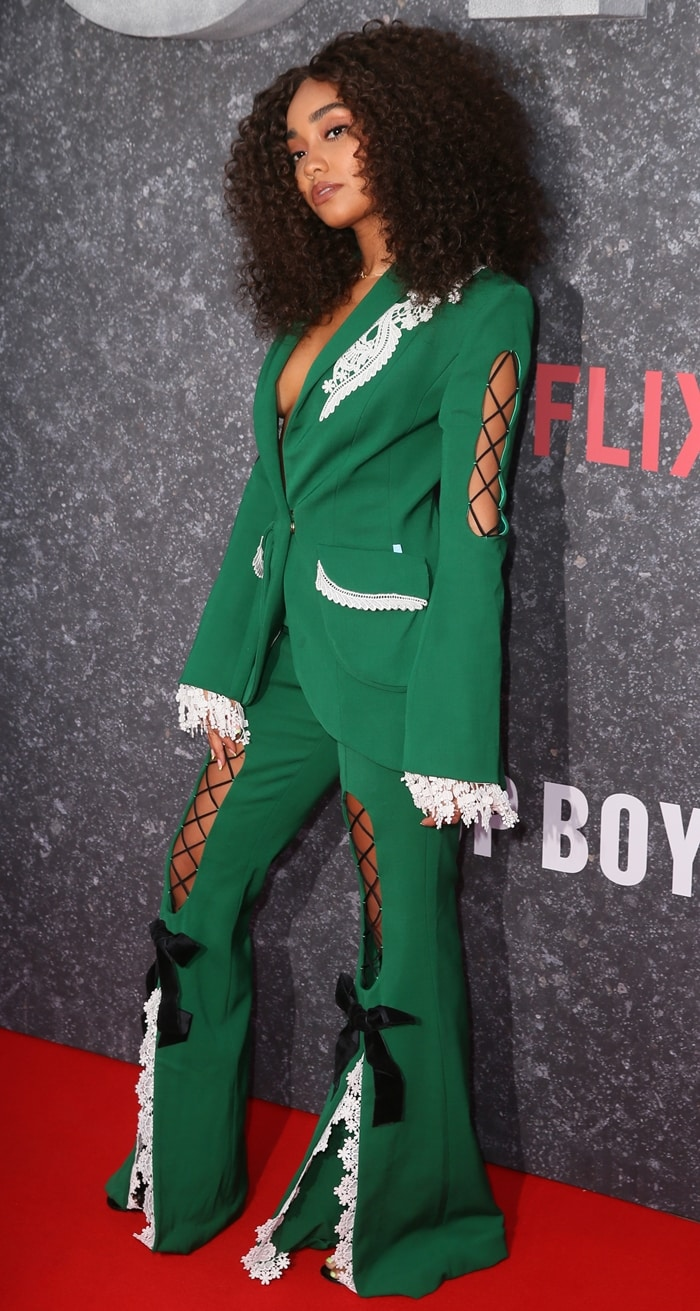Leigh-Anne Pinnock donned a green pantsuit by Ana Ljubinkovic