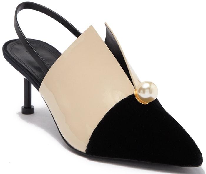 Violah Faux Pearl Embellished Kitten Heel Pump