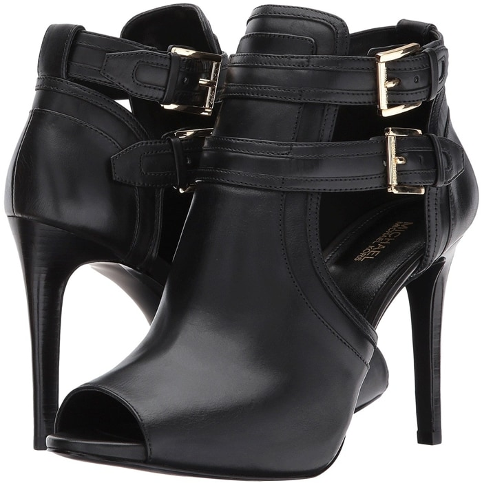 Jexell Peep Toe Western Booties In Black Brown And White