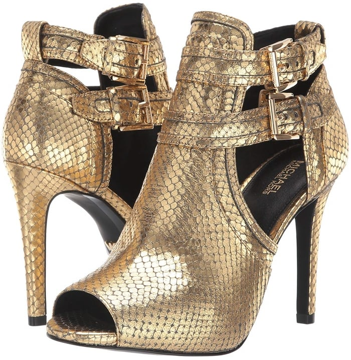Your style will sizzle in the alluring lines of the Blaze open toe bootie with two logo buckle straps