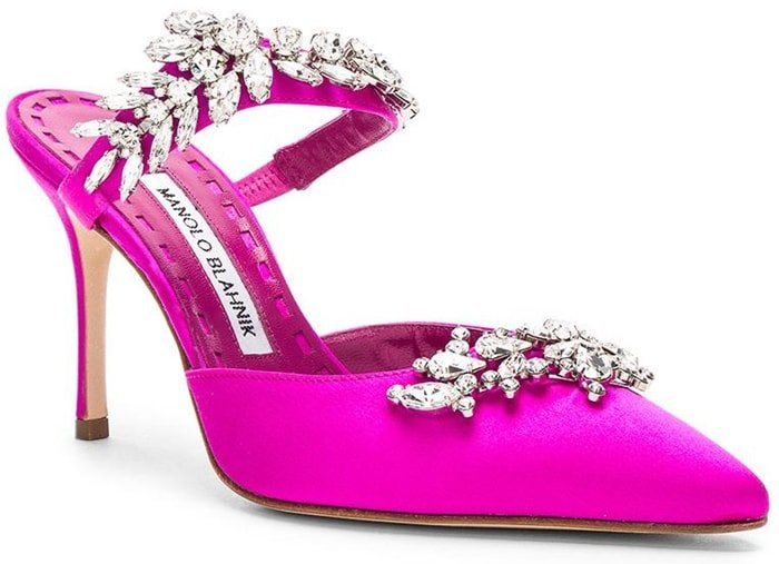 Opulent point toe mules with stunning crystal embellishment