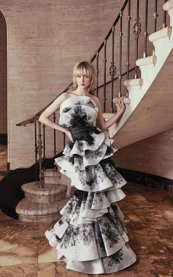 Marchesa Ruffled Floral-Print Silk Dress