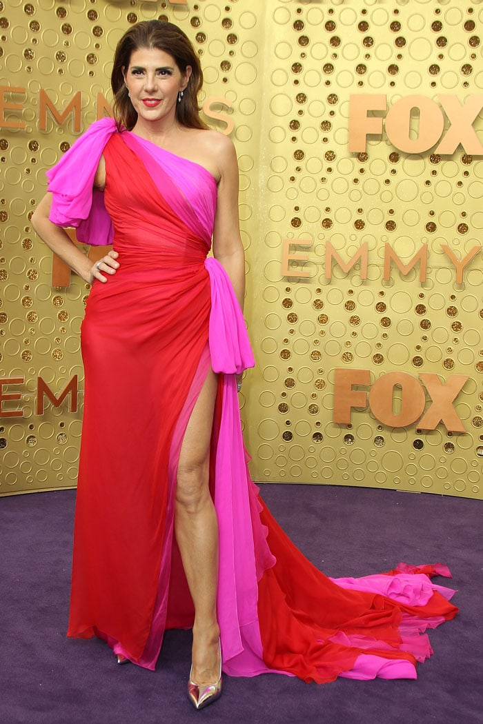 Marisa Tomei in a pink-and-red Ralph & Russo gown