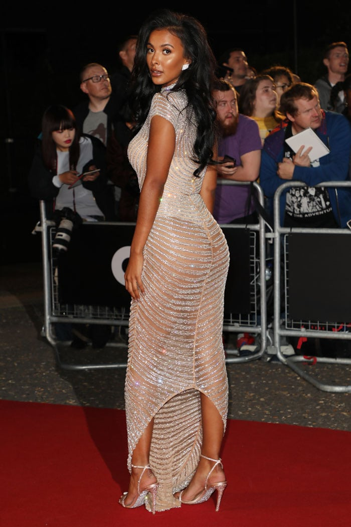 Maya Jama baring her butt in a sparkly nude dress