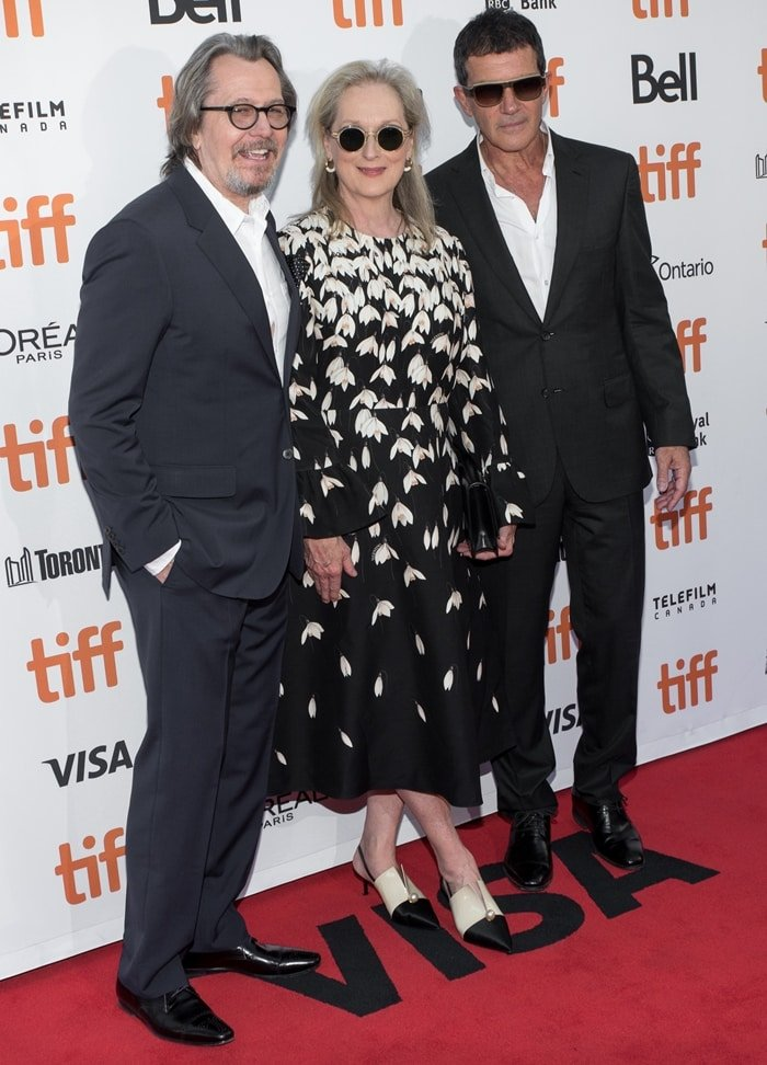 Gary Oldman, Antonio Banderas, and Meryl Streep at the 2019 Toronto International Film Festival premiere of The Laundromat