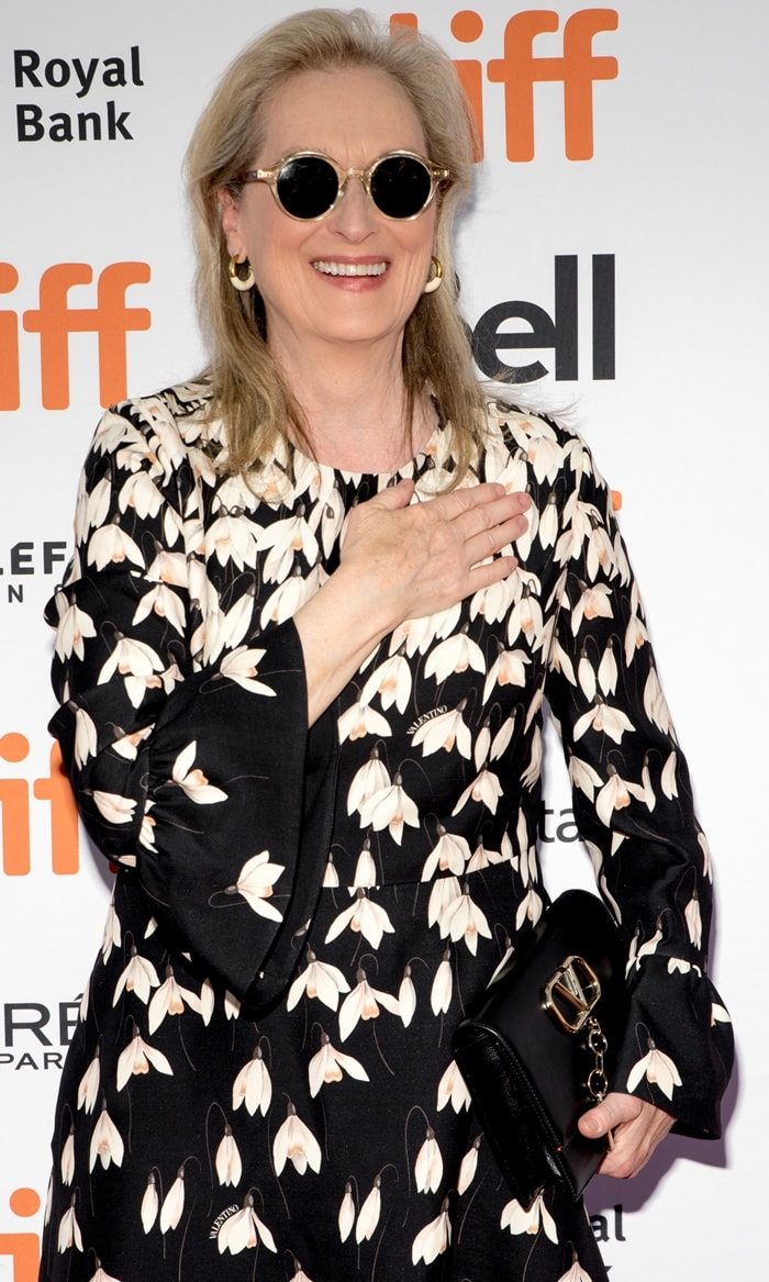 Meryl Streep's Valentino dress has been crafted in Italy from wool and silk crêpe and features fluted details along the cuffs to complement its classic fit-and-flare shape