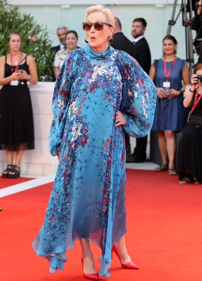 Meryl Streep looking surprised at the premiere of The Laundromat at the 2019 Venice Film Festival