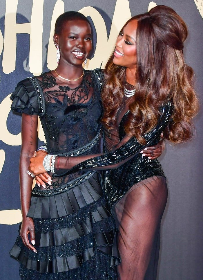 South Sudanese-Australian model Adut Akech and Naomi Campbell arrive at the 2019 Fashion for Relief