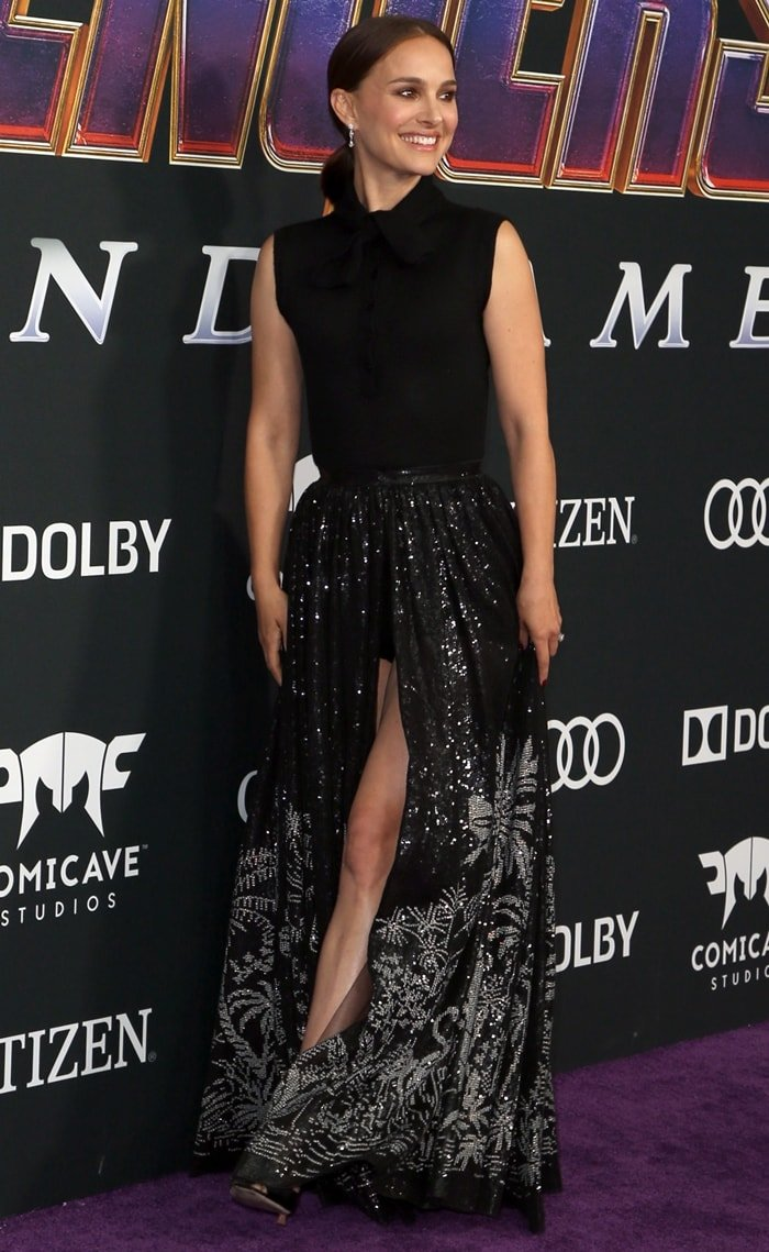 Natalie Portman showing some leg in a look from the Christian Dior Fall 2019 Collection