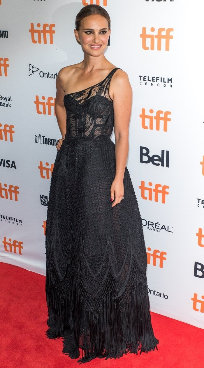 Natalie Portman's black one-shoulder Christian Dior Haute Couture dress with a sheer lace bodice