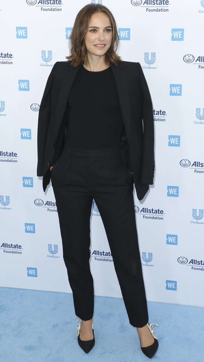Natalie Portman wearing black on the blue carpet at WE Day California 2019