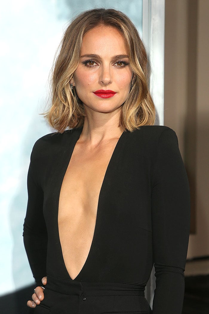 Natalie Portman in a gaping bodysuit and a too-tight mini skirt