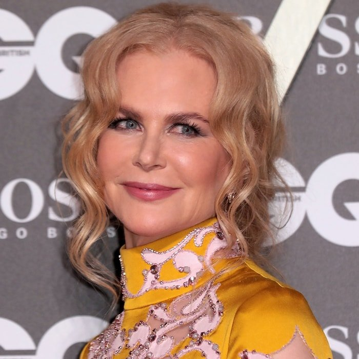 Nicole Kidman's blonde curly hair in an elegant updo
