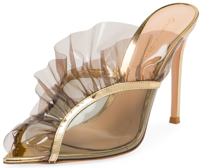 Tulle ruffles fan out, accenting the seductive peep toe silhouette finished with metallic edges