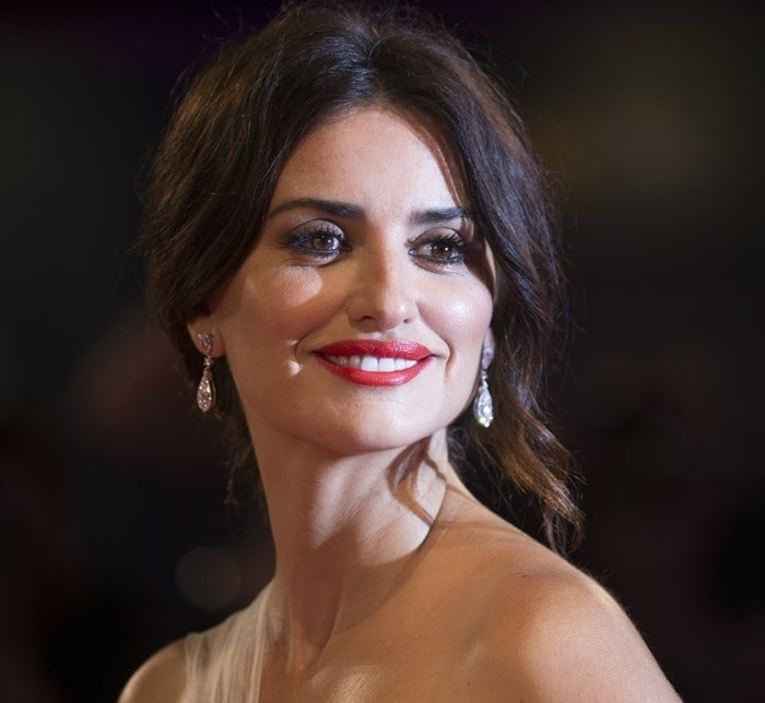 Penelope Cruz with an elegant updo to show off her diamond earrings