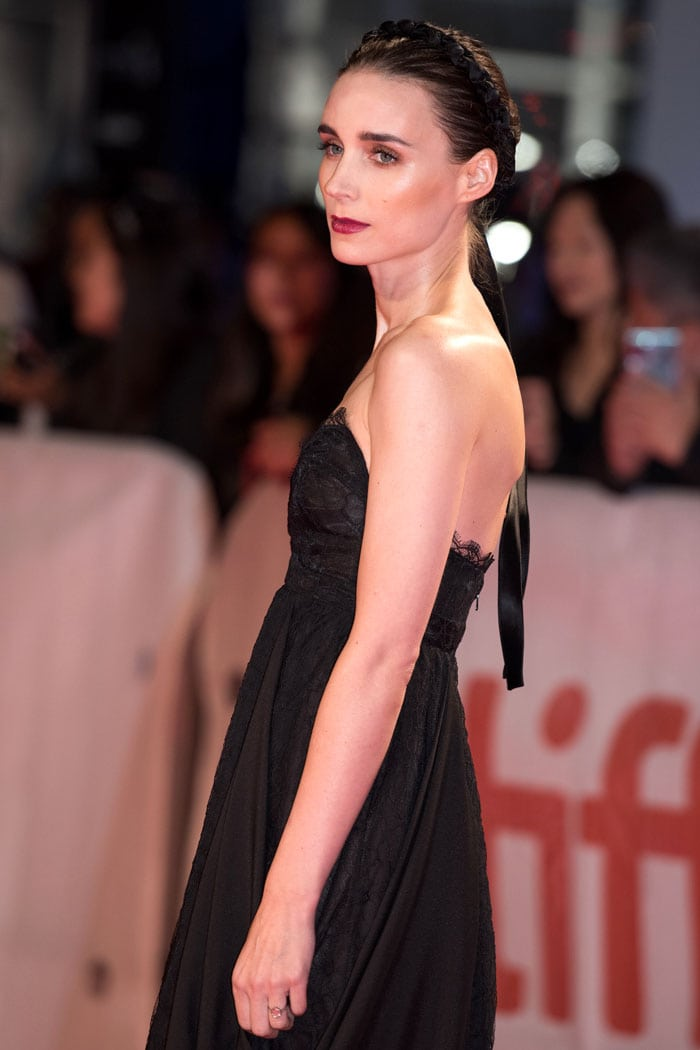 Rooney Mara in a Hiraeth black-lace strapless gown