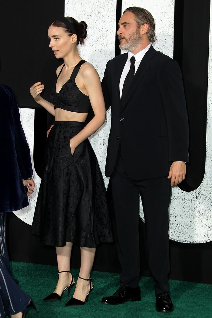 Rooney Mara with fiancé Joaquin Phoenix at the Joker premiere