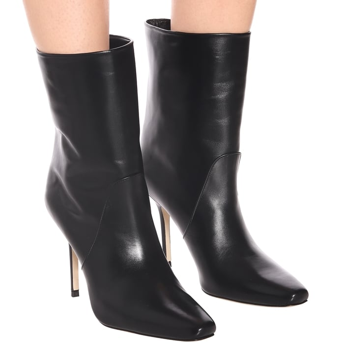 Cut from smooth leather, this style is set on a sleek stiletto heel and finished with a squared pointed toe