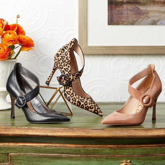 With the chicest asymmetrical strap you've seen and a pointy toe, the Hinda pump elevates your looks